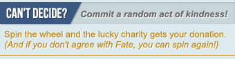 Commit a random act of kindness.  Spin the wheel and give the lucky charity your donation.